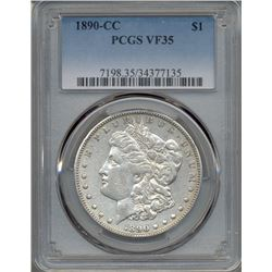 1890-CC $1 Morgan Silver Dollar Coin PCGS VF35