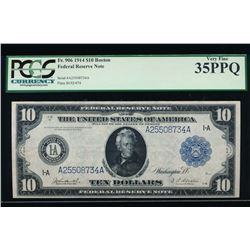 1914 $10 Boston Federal Reserve Note PCGS 35PPQ