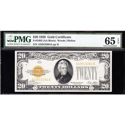 1928 $20 Gold Certificate PMG 65EPQ