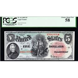 1869 $5 Rainbow Legal Tender Star Note PCGS 58