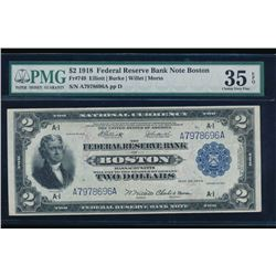 1918 $2 Boston Federal Reserve Bank Note PMG 35EPQ