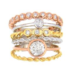 14KT Tri Color Gold 1.28ctw Diamond Ring