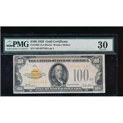 1928 $100 Gold Certificate PMG 30