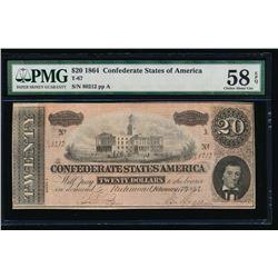 1864 $20 Confederate States of America Note PCGS 58EPQ