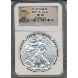 2014 $1 American Silver Eagle Coin NGC MS70