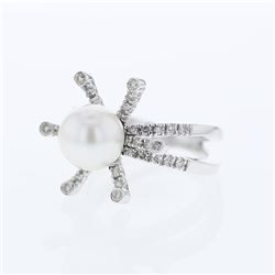18KT White Gold 5.25ct Pearl and Diamond Ring