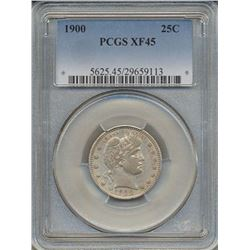 1900 Barber Quarter Coin PCGS XF45