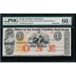 1840s-70s South Carolina Note PMG 66EPQ