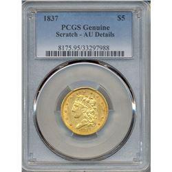 1837 $5 Liberty Head Gold Coin PCGS AU Details