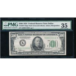 1934 $500 Dallas Federal Reserve Note PMG 35