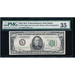 1934 $500 Dallas Federal Reserve Note PMG 35