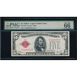 1928A $5 Legal Tender Note PMG 66