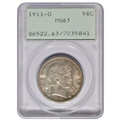 1911-D Barber Half Dollar Coin PCGS MS63