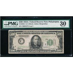 1934A $500 Philadelphia Federal Reserve Note PMG 30