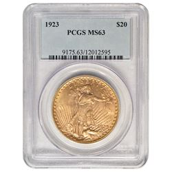 1923 $20 St Gaudens Double Eagle Gold Coin PCGS MS63