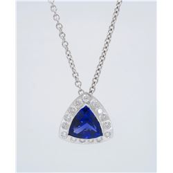 Platinum 5.70ct Tanzanite and Diamond Pendant with Chain