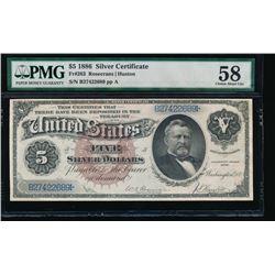 1886 $5 Silver Certificate PMG 58