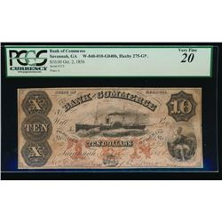 1856 $10 Bank of Commerce Obsolete Note PCGS 20