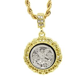 PLATED 14KT Gold CZ Peso Pendant with Chain