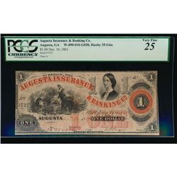 1861 $1 Augusta Insurance and Banking Obsolete Note PCGS 25