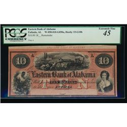 1800's $10 Eastern Bank of Alabama Obsolete Note PCGS 45
