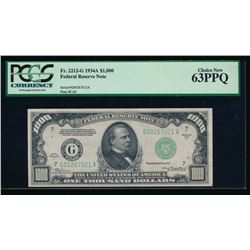 1934A $1000 Chicago Federal Reserve Note PCGS 63PPQ