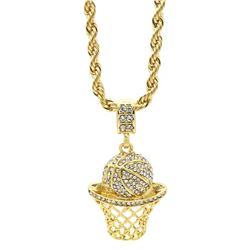 PLATED 14KT Gold CZ Pendant with Chain