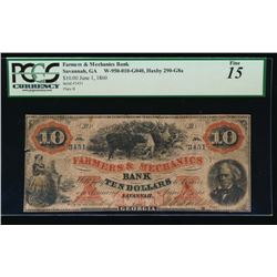 1860 $10 Farmers and Mechanics Obsolete Note PCGS 15