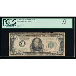 1934 $500 Philadelphia Federal Reserve Note PCGS 15