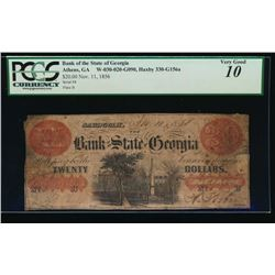 1856 $20 Bank of the State of Georgia Obsolete Note PCGS 10