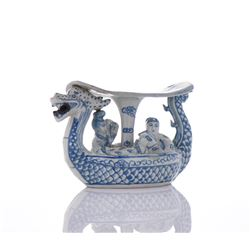 Blue And White Porcelain Dragon Boat Neck