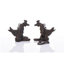 Two Mughal Bronze Bird Censer.