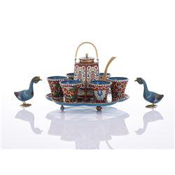 Cloisonne Tea Set With Two Cloisonne Ducks