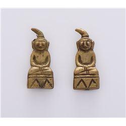 Two Precolumbian Bronze Figurines.
