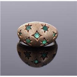 6.44 gram 14k Natural Emerald Dome Star Ring
