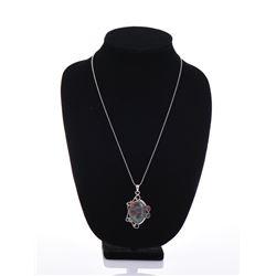 Sterling Silver Natural Bloodstone Garnet Pendant