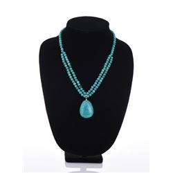 Turquoise Pendant On Turquoise Beads Necklace
