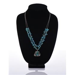 Sterling Silver Turquoise Feather Pendant