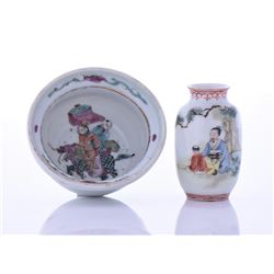 19th Century Porcelain Bowl And Small Vase