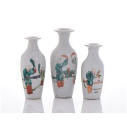 3 Set Of Qing Dynasty Small Porcelain Vase
