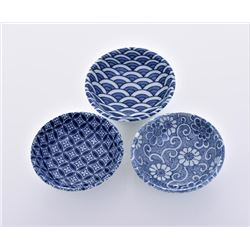 Three Blue And White Porcelain Dishes.