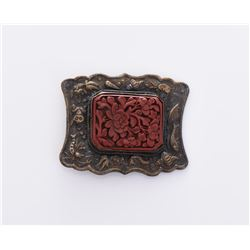 18th Century Bronze Cinnabar Robe Buckle