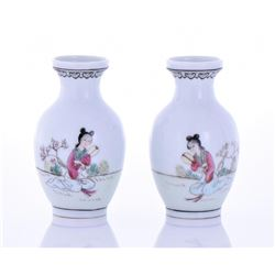 Two Chinese Early 1900's Porcelain Small Vases