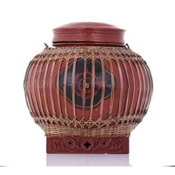 Qing Dynasty Red Lacquered Wood Rice