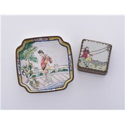 Grouping of A 19th Century Enameled Plate