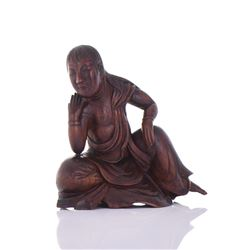 Rosewood Carving Of A Seated Half Robed Man
