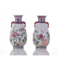 Two Famille Rose Porcelain Vases