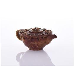 Carved Chicken Blood Stone Miniature Tea Pot