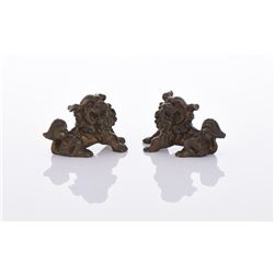 Two Bronze Foo Dogs