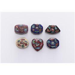 Six Cloisonne Pill Boxes